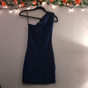 Deep royal blue one shoulder dress